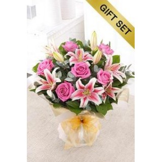Rose & Lily Hand-Tied with Chocolates